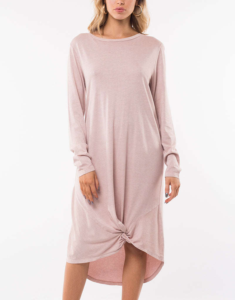 LONG SLEEVE TWISTED TEE DRESS - PINK
