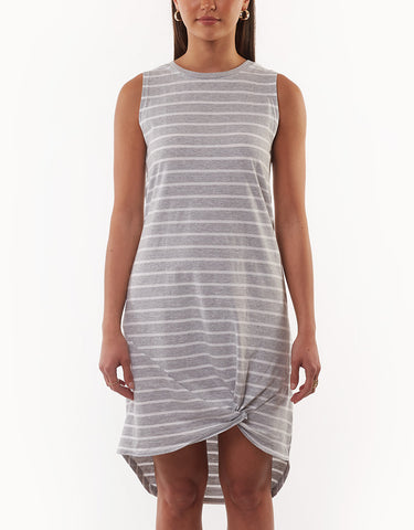 TWISTED TANK DRESS - GREY STRIPE