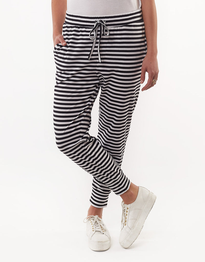 FALLING BRICK STRIPE PANT - BLACK