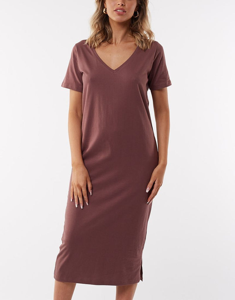 NOTCH MIDI DRESS - GRAPE