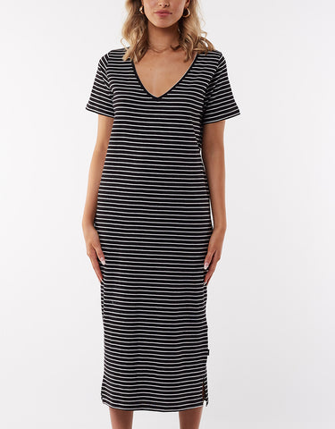 NOTCH MIDI DRESS - STRIPE