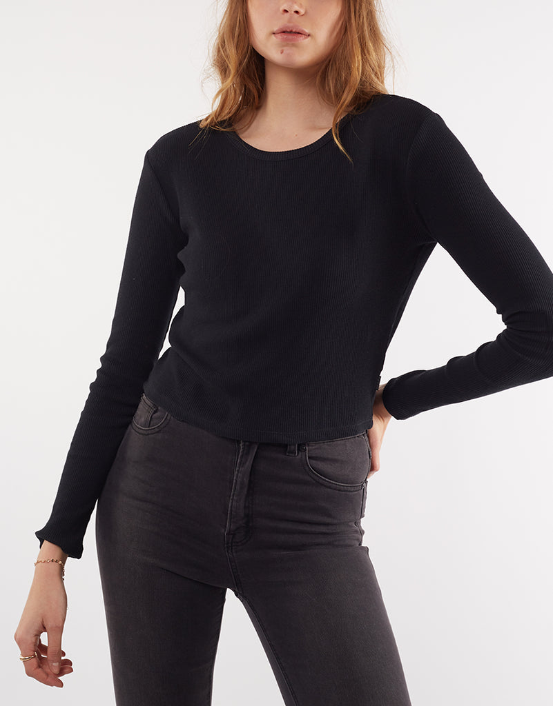 MANHATTAN RIBBED LONG SLEEVE TEE - BLACK
