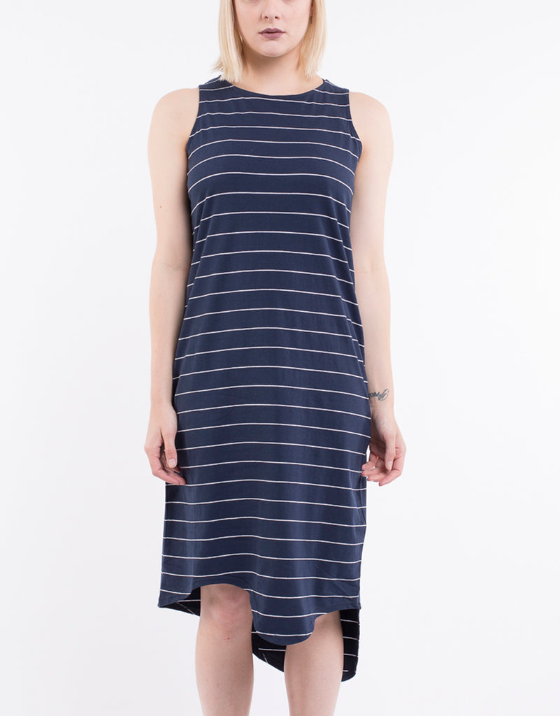 ONE IN EIGHT MIDI DRESS - NAVY STRIPE
