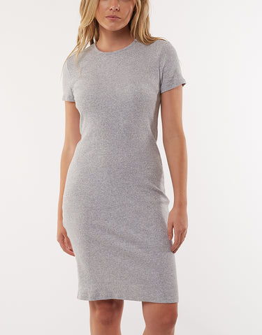 LADDERS RIBBED DRESS - GREY