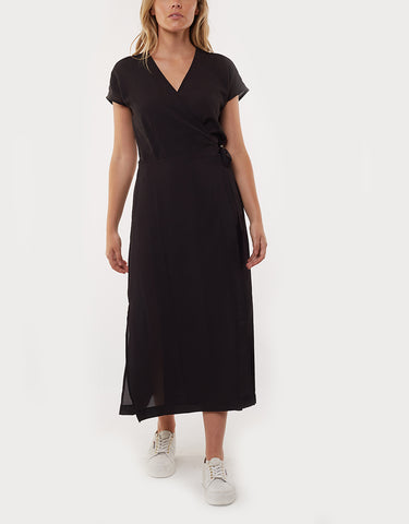 MAGNOLIA WRAP DRESS - BLACK