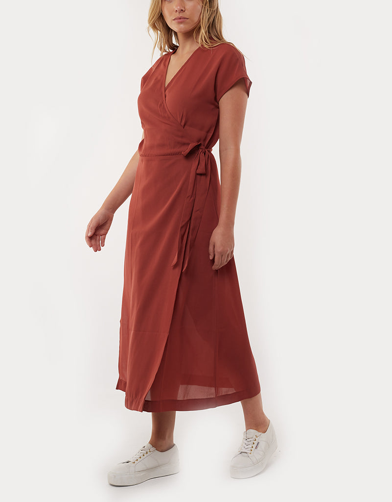MAGNOLIA WRAP DRESS - RUST