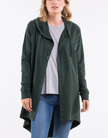 Cardi Ashleigh Hooded Bottle Green