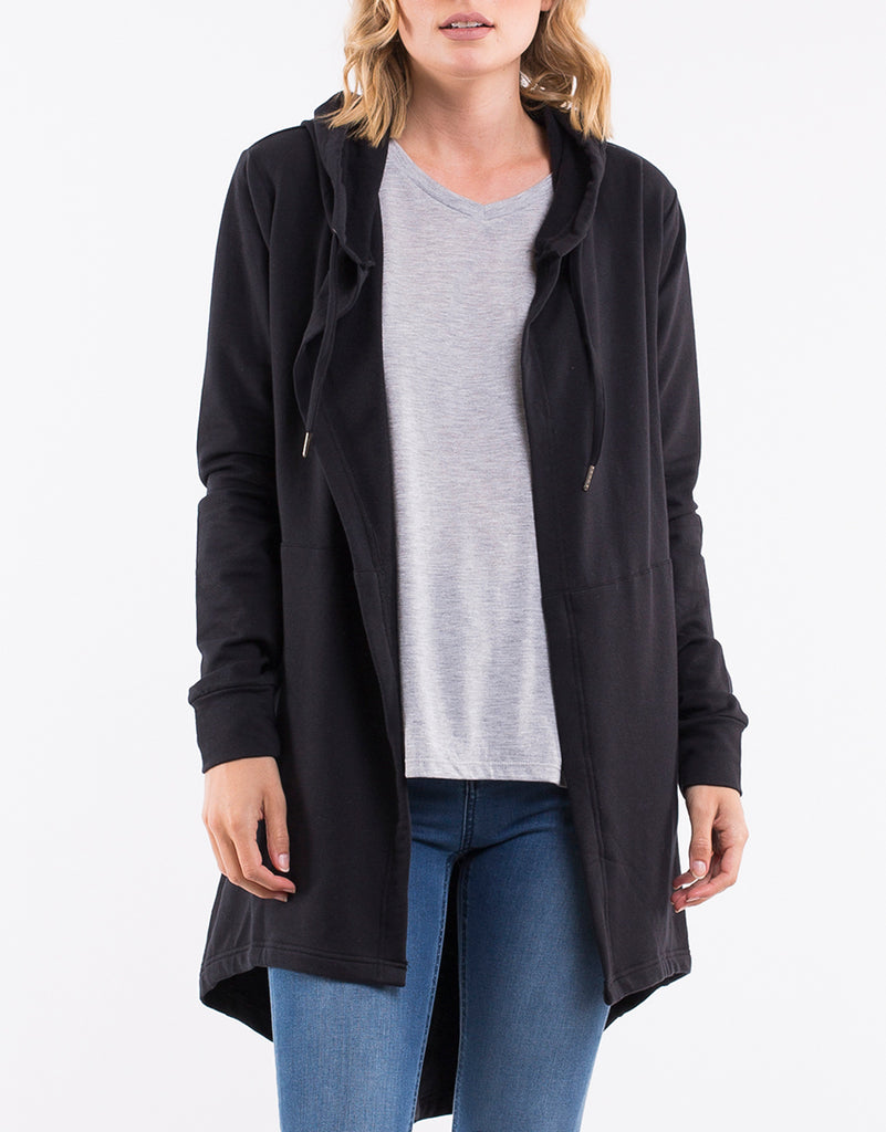 ASHLEIGH HOODED CARDI - BLACK