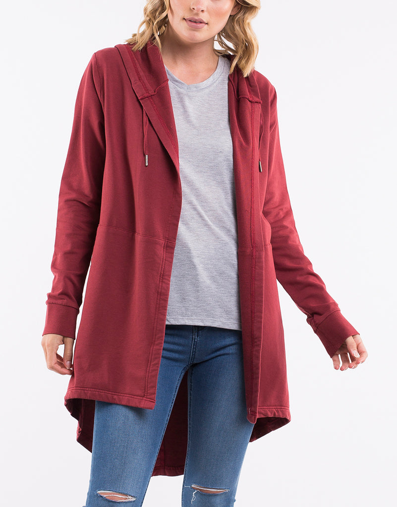ASHLEIGH HOODED CARDI - BURGANDY