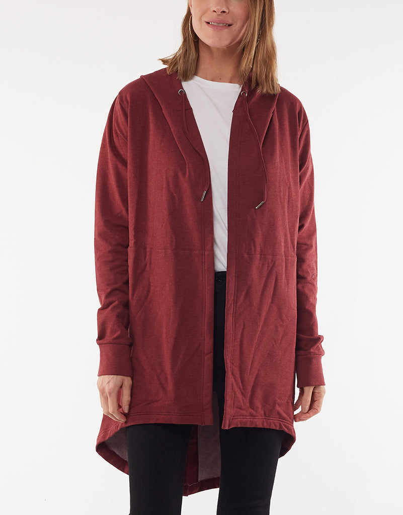 ASHLEIGH HOODED CARDI - RED