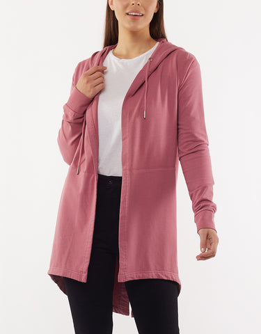 ASHLEIGH HOODED CARDI - ROSE