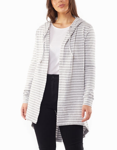 Cardi Ashleigh Hooded Grey/white Stripe