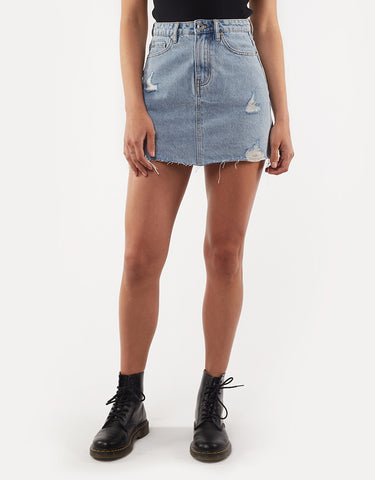 LEADING DENIM SKIRT - LIGHT BLUE