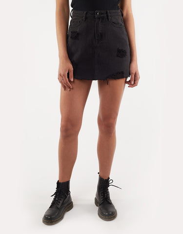 LEADING DENIM SKIRT - BLACK