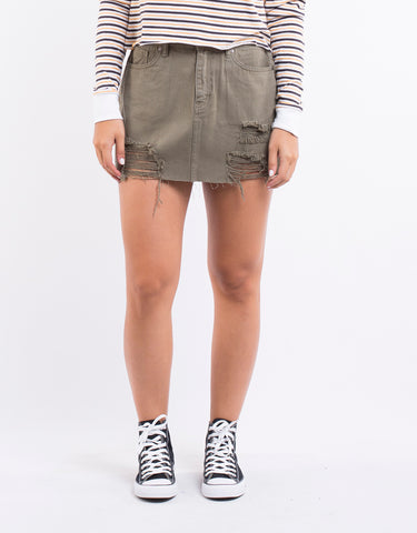 Leading Denim Skirt Khaki