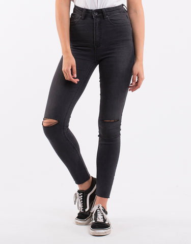 Vice Skinny Jean Wrkd Blk Slsh Wrecked Black Slash