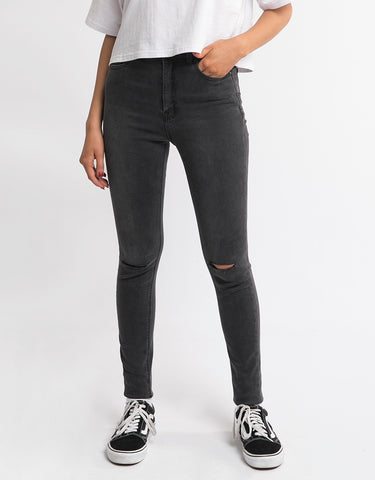 VICE HIGH SKINNY JEAN - WRECKED BLACK SLASH