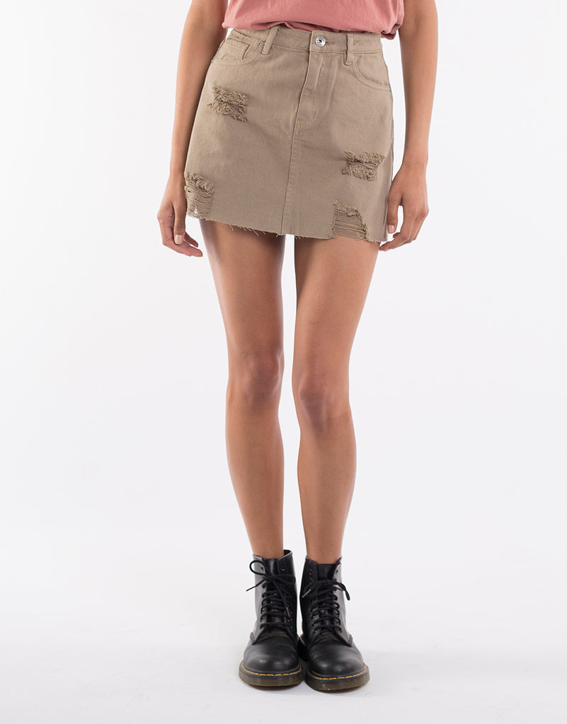 LEADING DENIM SKIRT - TAN