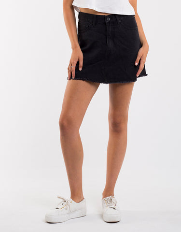 Venice Denim Skirt Washed Black