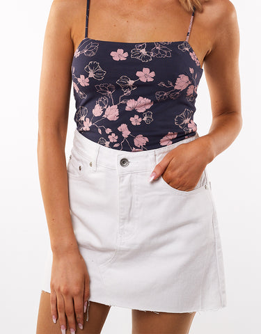 Venice Denim Skirt White