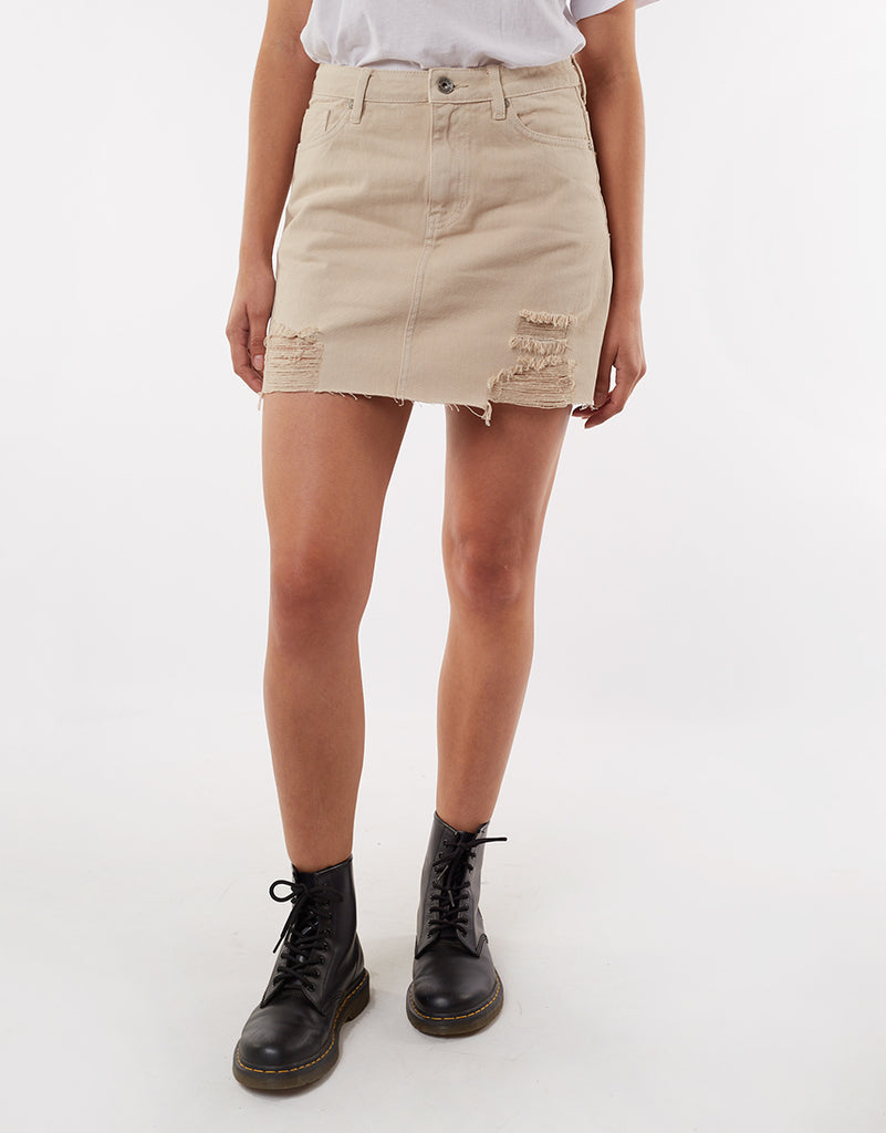 LEADING DENIM SKIRT - NATURAL