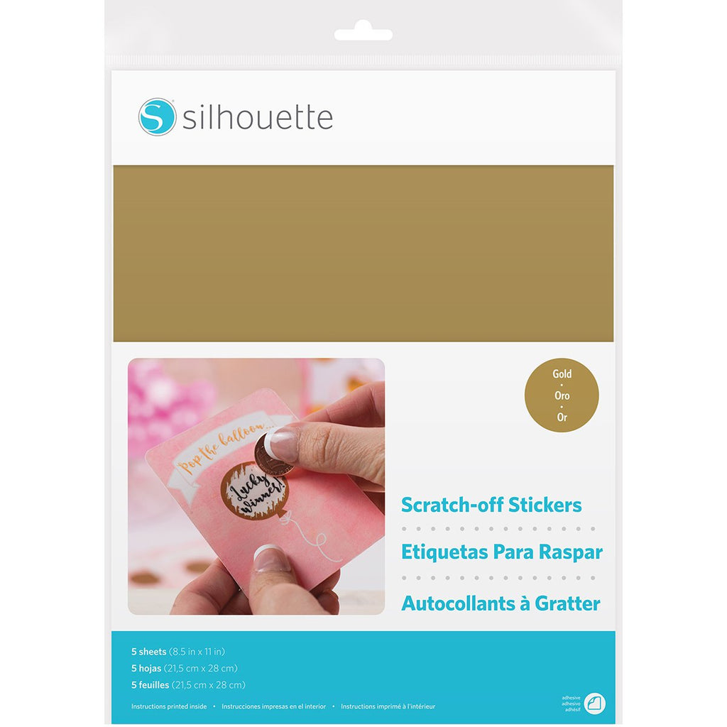 Silhouette Electronic Cutter - Scratch Off Sticker Sheets - Gold 8.5 X 11 Inch 5/Pk