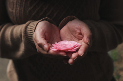 person holding flower