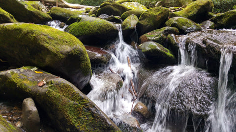 Stream of water running over rocks