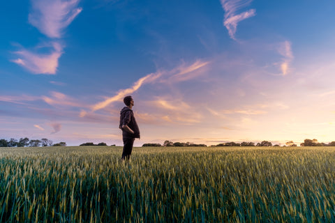 Man standing in grass field looking out to a sunset