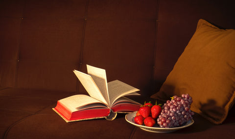 book and snacks on a couch