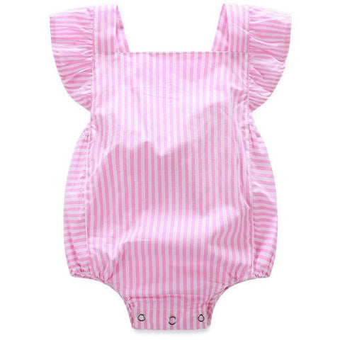 pink romper baby summer onesie stripe palm beach