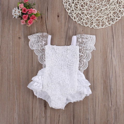 Heaven White Cotton Lace Romper