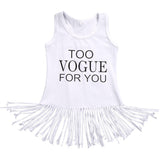 white vogue fringe dress toddler baby summer