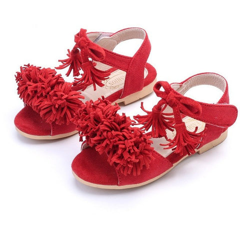 girls fringe suede sandals red black toddler girls trendy