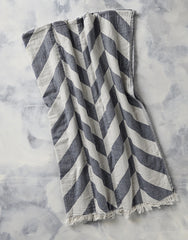 CHEVRON JAQUARED THROW IN BLACK