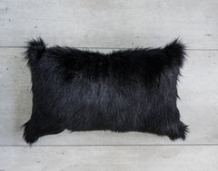 GOATSKIN CUSHION IN BLACK 50x30cm
