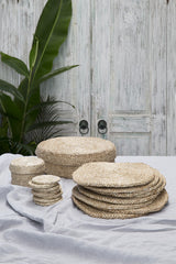 Round Natural Jute Placemats x 8 (in lidded basket)