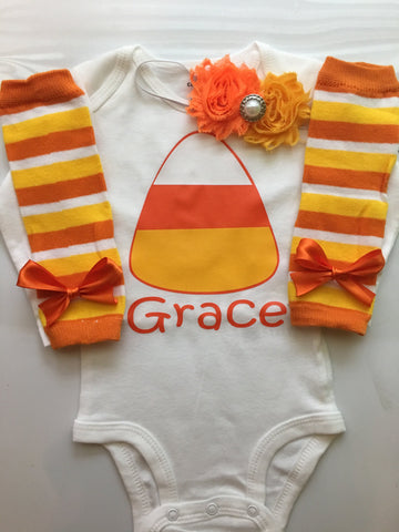 Baby Girl Fall Outfit - Baby Girl Thanksgiving outfit - Candy Corn Cutie - Personalized baby outfit - candy corn leg warmers - baby headband