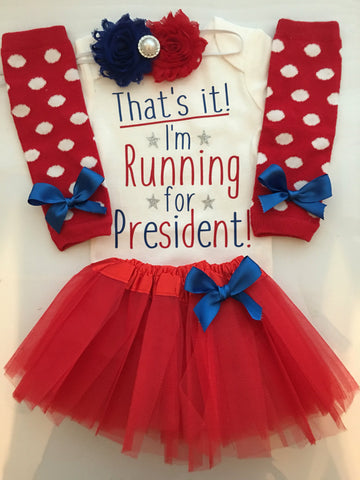 Baby Girl Election Outfit - Girl clothes - baby girl funny - Red white and blue baby - Election Day outfit - I'm running for President