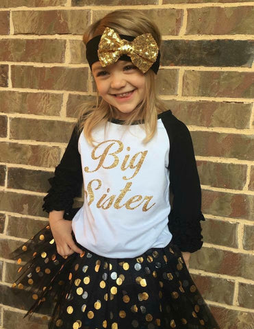 Big Sister outfit - Big sister shirt - black and gold - big sis - Girls Big sister outfit- Big Sister Raglan- 3 PIECE SET - includes skirt