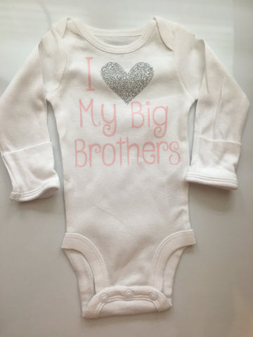Baby Girl outfit -little sister outfit - Litter sister bodysuit - newborn girl coming home outfit - I love my big brother -bodysuit ONLY