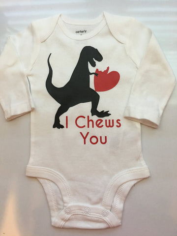 Baby boy Toddler Boy Valentines Outfit -Valentine's Chew You- Dinosaur Valentines shirt- I Chews You - Preemie-5T