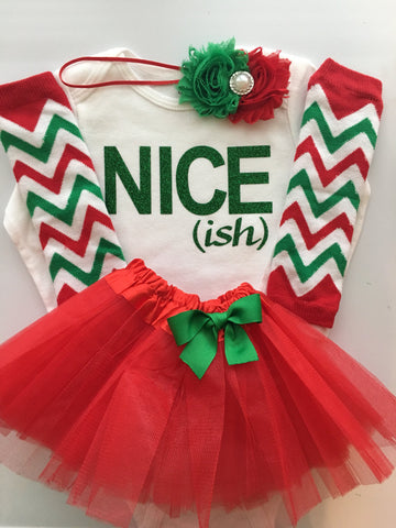 Baby Girl Christmas  outfit - Nice (ish)- funny christmas outfit - kids christmas - toddler girl christmas clothes - 4 piece set