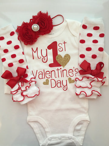 Baby Girl Outfit - Baby Valentines Day outfit - valentines photo shoot prop - My 1st Valentines Day - baby infant valentines