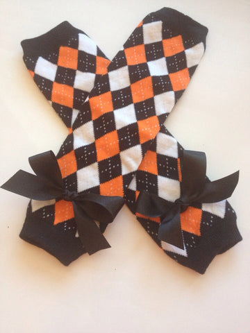Baby Girl Leg warmers - Baby girl Halloween outfit - Orange and Black Argyle Legwarmers - orange black leg warmers - toddler leg warmers