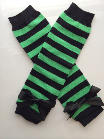 Baby Girl Green and Black Stripe Legwarmers - baby girl leg warmers- toddler leg warmers - Eagles baby girl - Jets baby girl