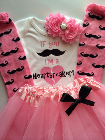 Baby Girl Outfit - Toddler girl - Baby Valentines Day outfit -mustache outfit - valentines day- If you mustache Im a heartbreaker
