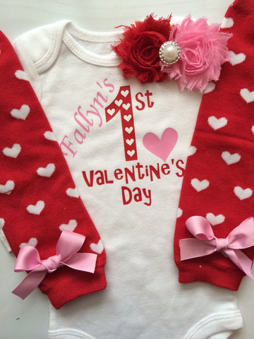 Baby Girl Outfit - Baby Valentines Day outfit - 1st valentines day outfit -personalized valentines - heart outfit
