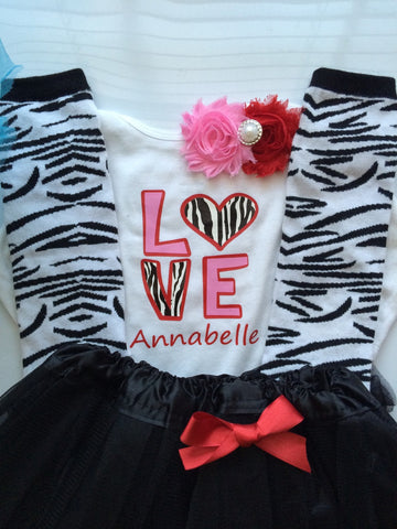 Toddler Girl Outfit - Valentine's Day toddler girl outfit - zebra print  - zebra print legwarmers - valentines headband- valentines outfit