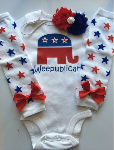 Baby Girl red white blue Outfit - Baby girl 4th of July - weepublican - election day baby out - baby leg warmers - babycrat